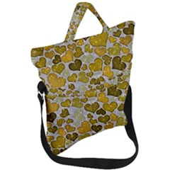 Sparkling Hearts Golden Fold Over Handle Tote Bag