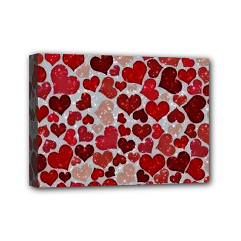 Sparkling Hearts, Red Mini Canvas 7  X 5  (stretched) by MoreColorsinLife