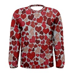Sparkling Hearts, Red Men s Long Sleeve Tee