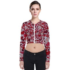 Sparkling Hearts, Red Zip Up Bomber Jacket