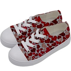 Sparkling Hearts, Red Kids  Low Top Canvas Sneakers by MoreColorsinLife