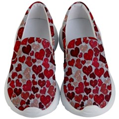 Sparkling Hearts, Red Kid s Lightweight Slip Ons by MoreColorsinLife