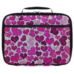 Sparkling Hearts Pink Full Print Lunch Bag by MoreColorsinLife