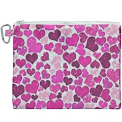 Sparkling Hearts Pink Canvas Cosmetic Bag (xxxl) by MoreColorsinLife