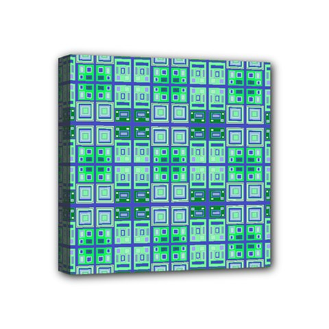 Mod Blue Green Square Pattern Mini Canvas 4  X 4  (stretched) by BrightVibesDesign