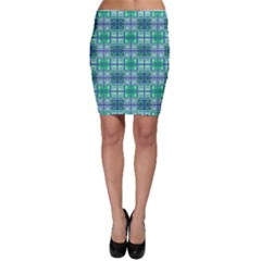 Mod Blue Green Square Pattern Bodycon Skirt