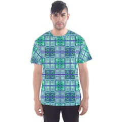 Mod Blue Green Square Pattern Men s Sports Mesh Tee