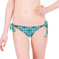 Mod Blue Green Square Pattern Bikini Bottom