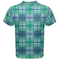 Mod Blue Green Square Pattern Men s Cotton Tee