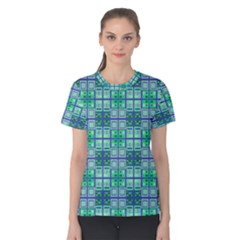 Mod Blue Green Square Pattern Women s Cotton Tee