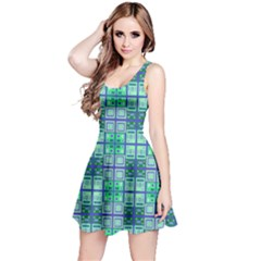 Mod Blue Green Square Pattern Reversible Sleeveless Dress