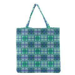 Mod Blue Green Square Pattern Grocery Tote Bag