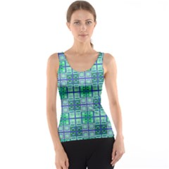 Mod Blue Green Square Pattern Tank Top