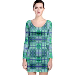 Mod Blue Green Square Pattern Long Sleeve Bodycon Dress