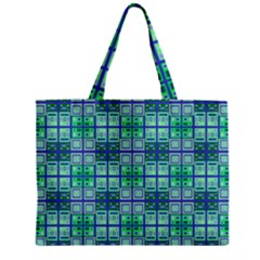 Mod Blue Green Square Pattern Mini Tote Bag