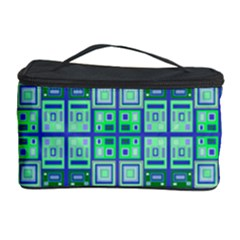 Mod Blue Green Square Pattern Cosmetic Storage