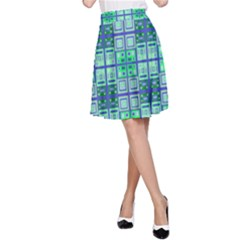 Mod Blue Green Square Pattern A Line Skirt