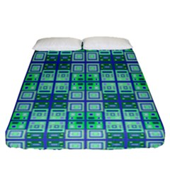 Mod Blue Green Square Pattern Fitted Sheet (queen Size)