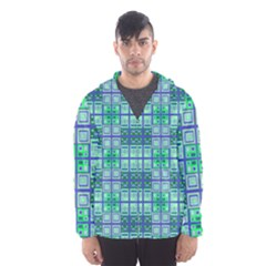 Mod Blue Green Square Pattern Hooded Windbreaker (men)