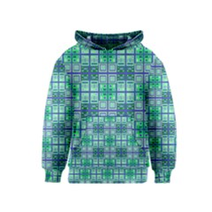 Mod Blue Green Square Pattern Kids  Pullover Hoodie