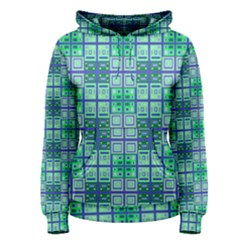 Mod Blue Green Square Pattern Women s Pullover Hoodie