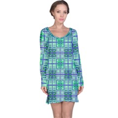 Mod Blue Green Square Pattern Long Sleeve Nightdress