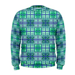 Mod Blue Green Square Pattern Men s Sweatshirt