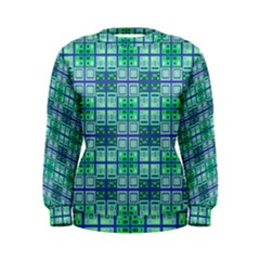 Mod Blue Green Square Pattern Women s Sweatshirt