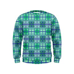 Mod Blue Green Square Pattern Kids  Sweatshirt