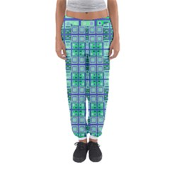 Mod Blue Green Square Pattern Women s Jogger Sweatpants