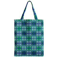 Mod Blue Green Square Pattern Zipper Classic Tote Bag