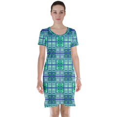 Mod Blue Green Square Pattern Short Sleeve Nightdress