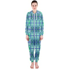 Mod Blue Green Square Pattern Hooded Jumpsuit (ladies)
