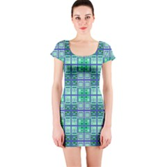 Mod Blue Green Square Pattern Short Sleeve Bodycon Dress