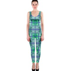 Mod Blue Green Square Pattern One Piece Catsuit