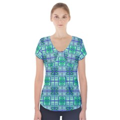 Mod Blue Green Square Pattern Short Sleeve Front Detail Top