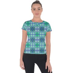 Mod Blue Green Square Pattern Short Sleeve Sports Top