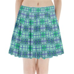 Mod Blue Green Square Pattern Pleated Mini Skirt