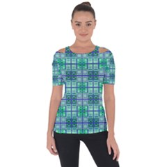 Mod Blue Green Square Pattern Shoulder Cut Out Short Sleeve Top