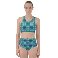 Mod Blue Green Square Pattern Racer Back Bikini Set