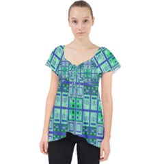 Mod Blue Green Square Pattern Lace Front Dolly Top