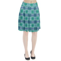 Mod Blue Green Square Pattern Pleated Skirt