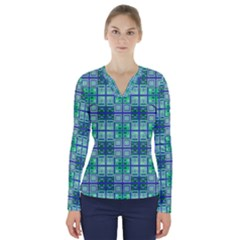 Mod Blue Green Square Pattern V Neck Long Sleeve Top
