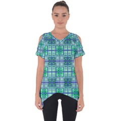 Mod Blue Green Square Pattern Cut Out Side Drop Tee