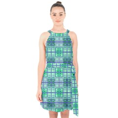 Mod Blue Green Square Pattern Halter Collar Waist Tie Chiffon Dress
