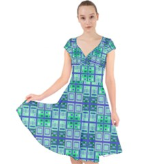 Mod Blue Green Square Pattern Cap Sleeve Front Wrap Midi Dress