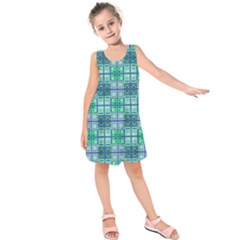 Mod Blue Green Square Pattern Kids  Sleeveless Dress