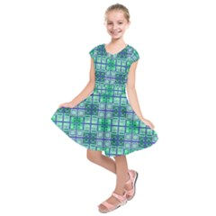 Mod Blue Green Square Pattern Kids  Short Sleeve Dress