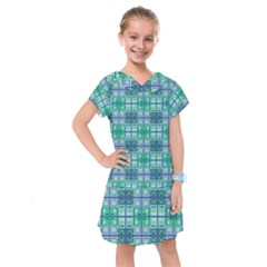 Mod Blue Green Square Pattern Kids  Drop Waist Dress