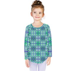 Mod Blue Green Square Pattern Kids  Long Sleeve Tee